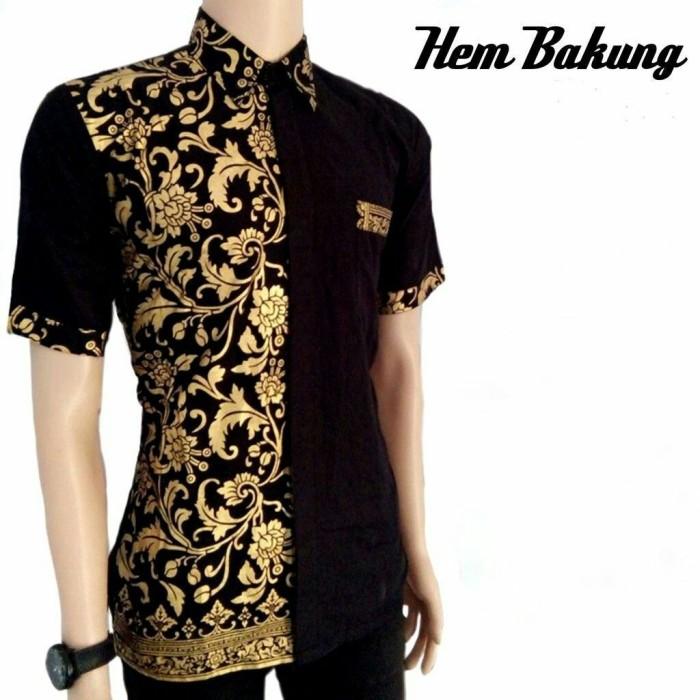Jual Promo Kemeja Batik Pria Modern Lengan Pendek Kombinasi Prada Gold Mot Kab Pekalongan Siscaluna Tokopedia