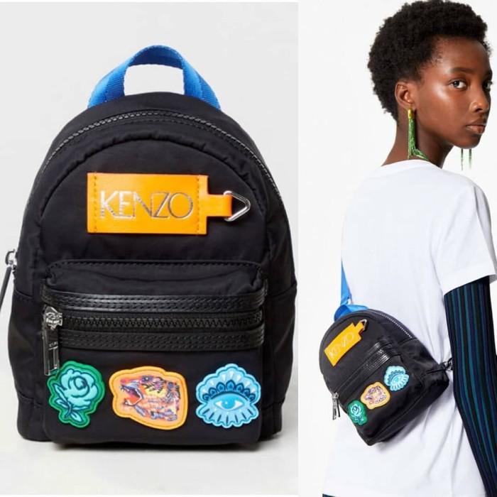 17d8c10283 Tas Kenzo mini multi icon backpack go tigers capsule black 15x20x7cm