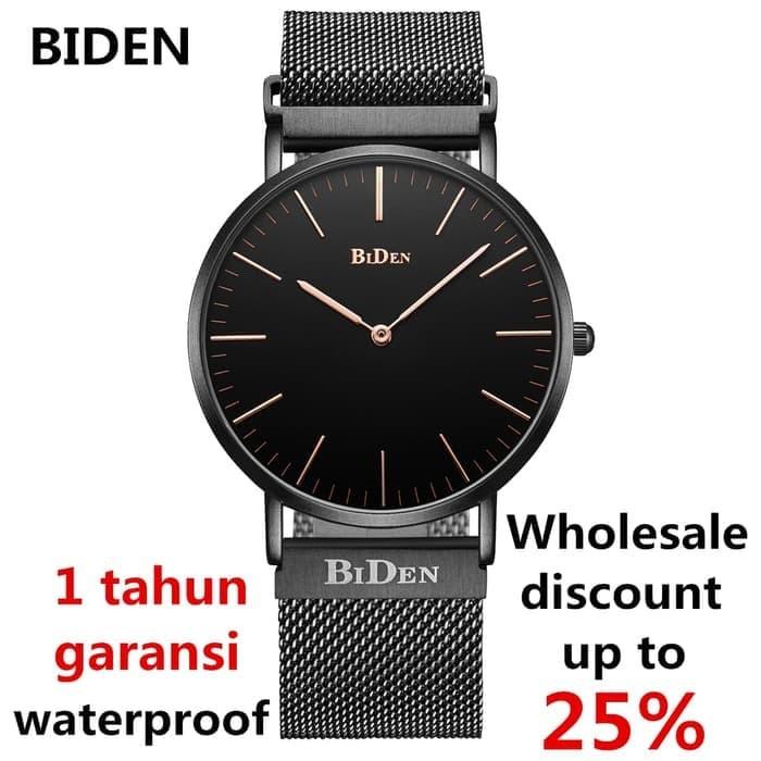 jam tangan Biden pria wanita fashion elegant bisnia sport quartz - Hitam fcc84b7b44