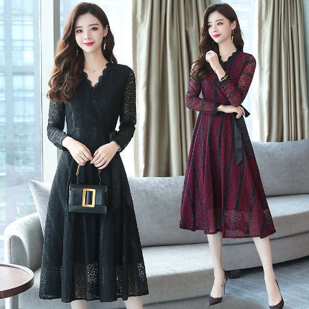 Jual Dress Pesta V Neck Lengan Panjang Gaya Korea Elegan Bahan Lace