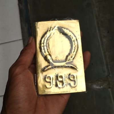 Jual Lempengan Emas Batangan Kuningan Cap 999 Gambar Padi Kapas