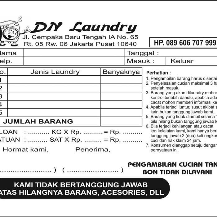 Jual Nota Laundry Paket Murah 60000 Sudah Ada Nomerasinya Rangkap 2 Kab Kudus Mahkotamuria Tokopedia