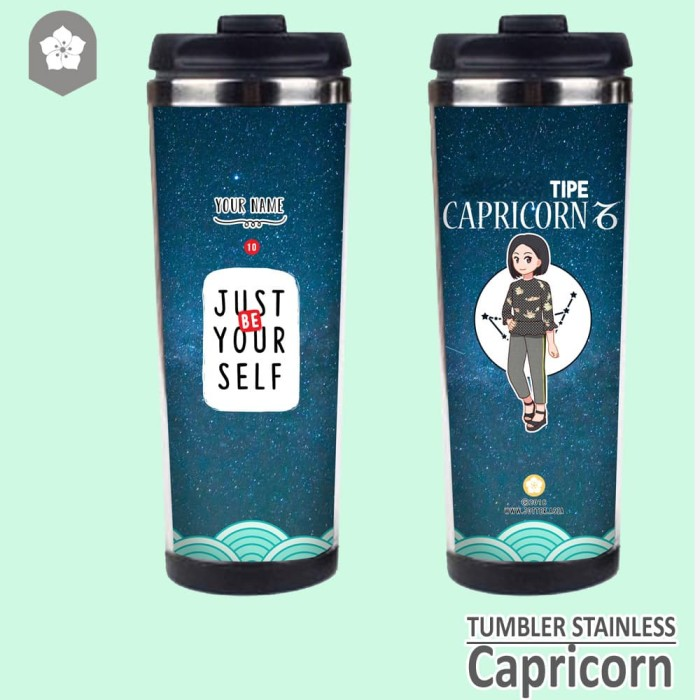 Tumbler premium Zodiak Capricorn Pre Order Custom Nama - Plastik