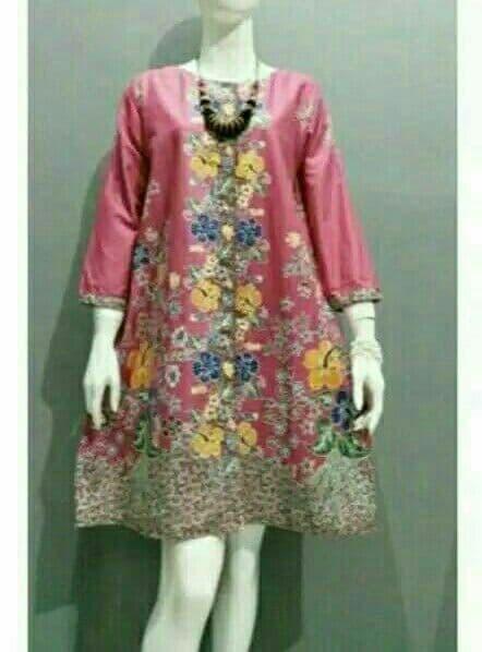 Jual Tunik Batik Atasan Batik Modern Terbaru Seragam Kantor size s d Jumbo  - Merah Muda d7d00bbfeb