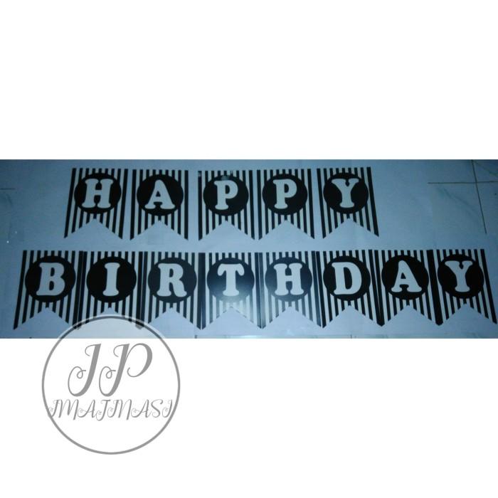 Banner flag Happy Birthday /Bunting Karakter Hitam Garis Putih