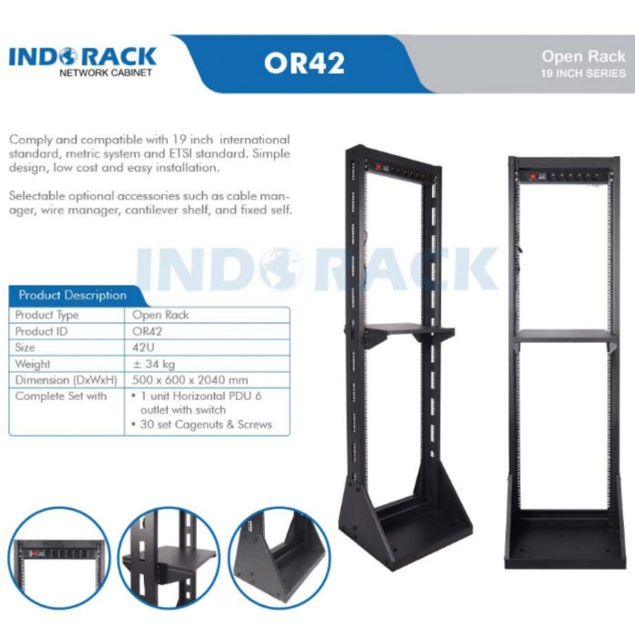 Open Rack INDORACK Rak Server 42U OR42 - Hitam