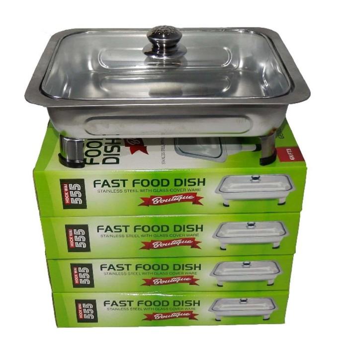 Fast Food Dish Tutup Full Kaca / Wadah Prasmanan / Nampan prasmanan Tu