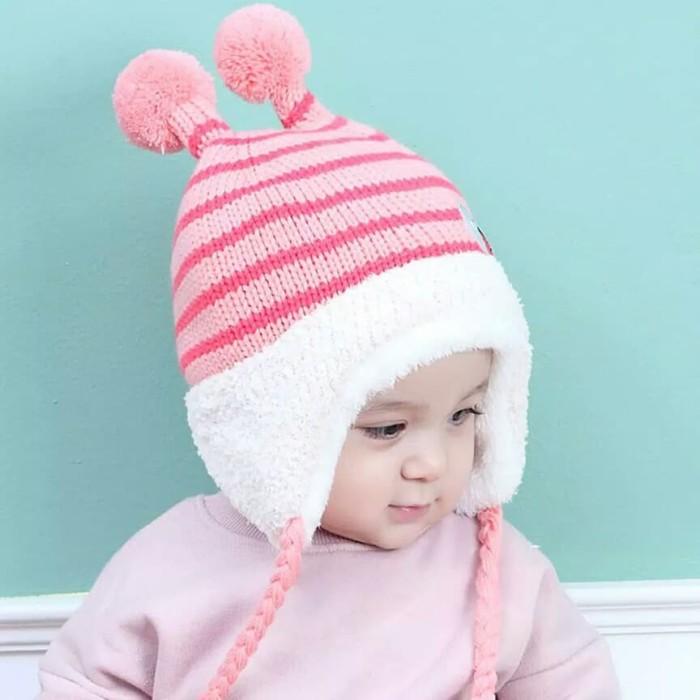 Kupluk Travel Bayi Anak Rajut Wol Topi Cowok Cewek Laki Perempuan Lucu -  Merah Muda e2060fd910