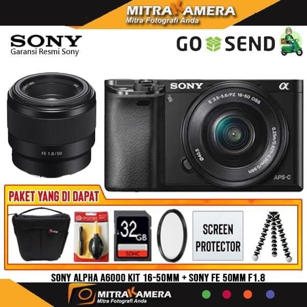 Foto Produk Sony Alpha A6000 / Sony Alpha A6000 Kit 16-50mm + Sony FE 50mm f1.8 - Hitam dari mitrakamera