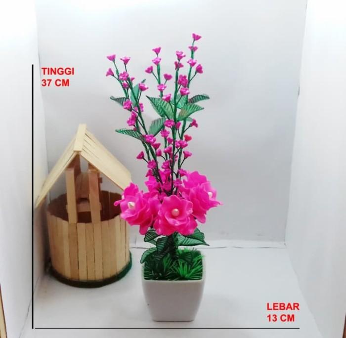 Naindo - Bunga Akrilik Bonsai-hiasan rumah dan ruang tamu dengan pot - Ungu bd5f0b7c87