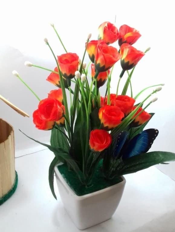 Jual Naindo Bunga Plastik Dengan Pot Hiasan Ruang Tamu Dan Kantor 4d24579299
