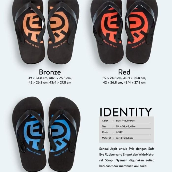sandal megumi identity/sandal cowok - Merah, 42
