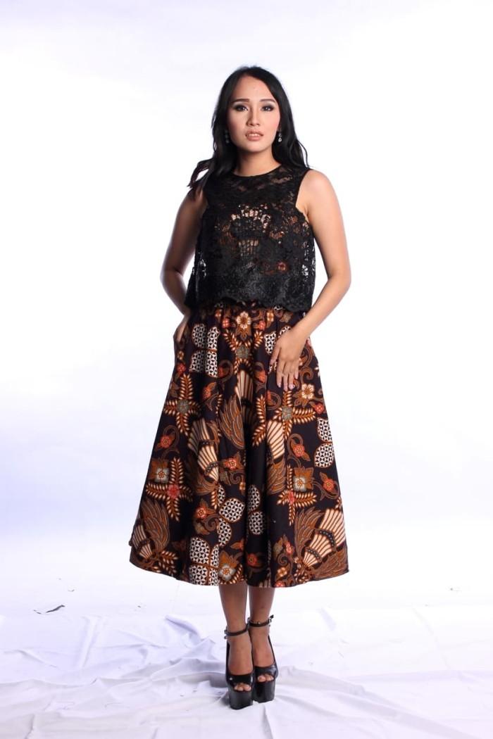 Jual Baju Pesta Batik Hitam Dress Batik Katun Kombinasi Brokat Hitam