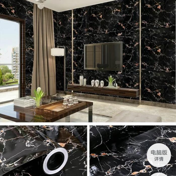 jual wallpaper sticker glossy marmer hitam mengkilap murah