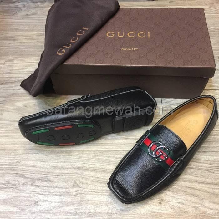 f525fd856 Sepatu Pria Loafers Gucci Kulit Asli Mirror Authentic Black original