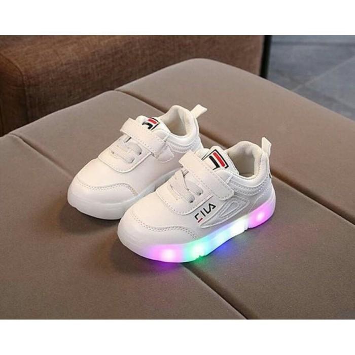Jual sepatu kets lampu FILA led shoes