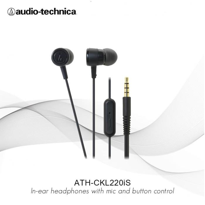 FLASH SALE Audio Technica ATH-CKL220iS In-Ear Headphone with Mic - Hitam