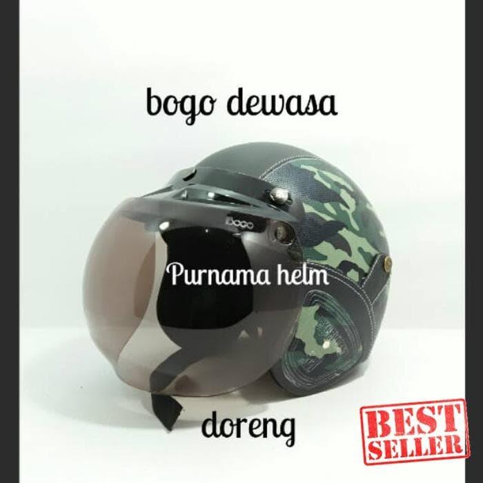 Helm retro bogo sni classic doreng kaca bogo ori/ os