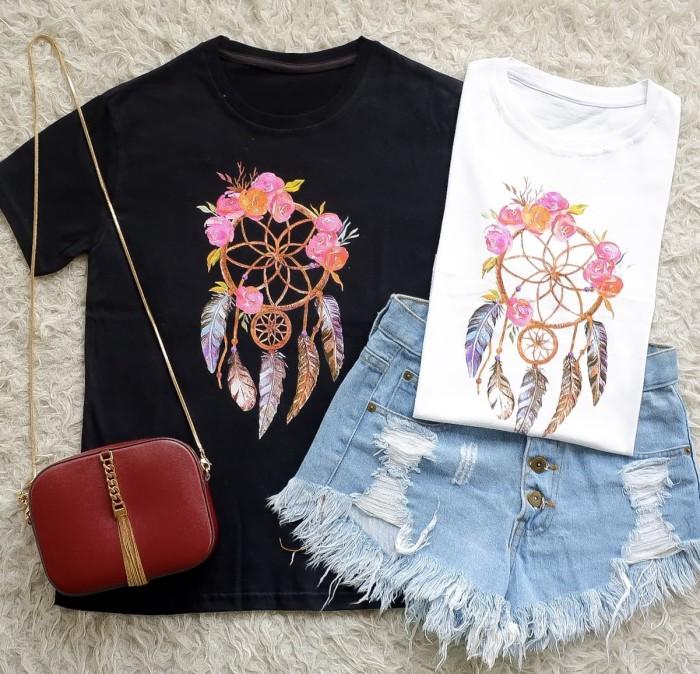Kaos TShirt Tumblr Tee Cewek Branded cute dream catcher Import Murah - Hitam 794c4f0936