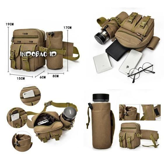 KASIANNA STORE Tas Pinggang Tactical Army + Tempat Botol | Tas Army