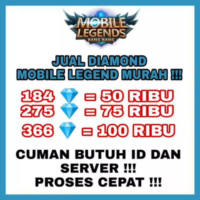 JUAL 184 DIAMOND MOBILE LEGEND MURAH