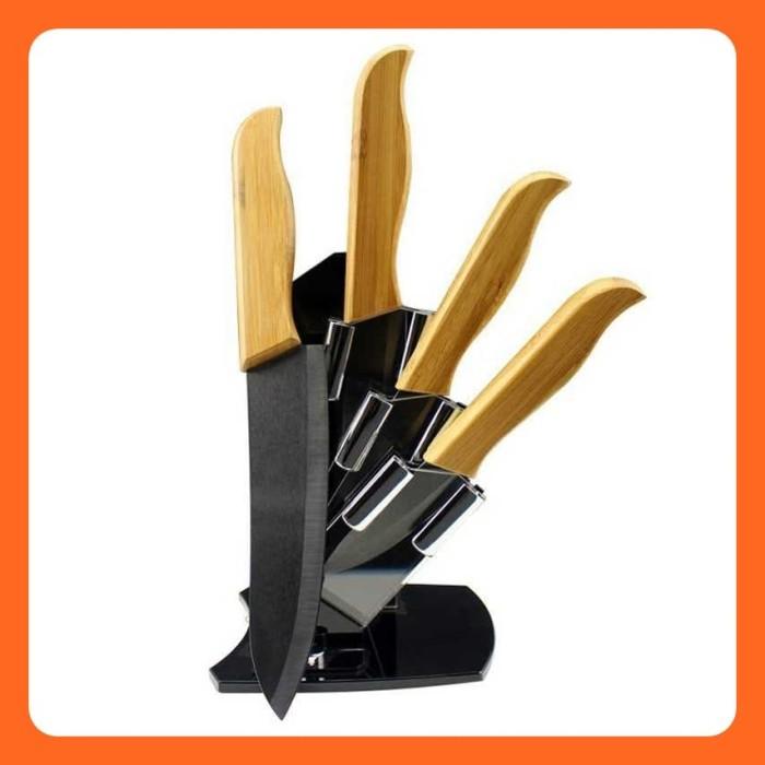 Hitam - Pisau Dapur Bambu 4 in 1 dengan Rak