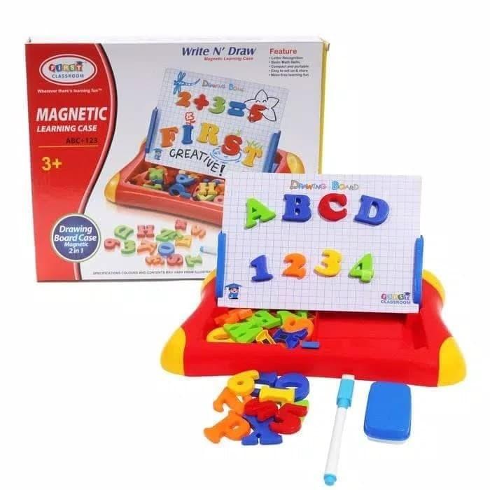 mainan edukatif papan tulis magnet 2 in 1 / mainan edukasi belajar kat