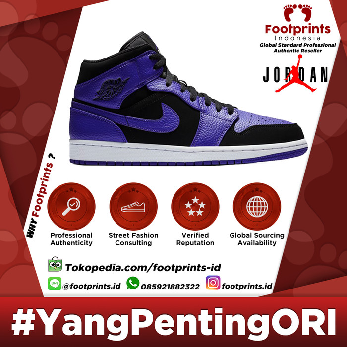 lowest price 21cf6 1ab6d Nike Air Jordan 1 Mid Black Concord Retro Blue 100% Original Sneakers