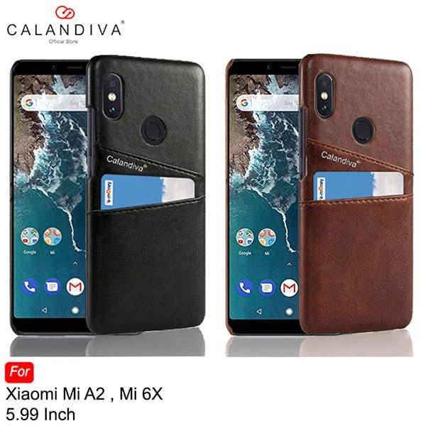 Calandiva Case Xiaomi Mi A2 ,Mi 6X Casing Leather Card Wallet Hardcase - Brown