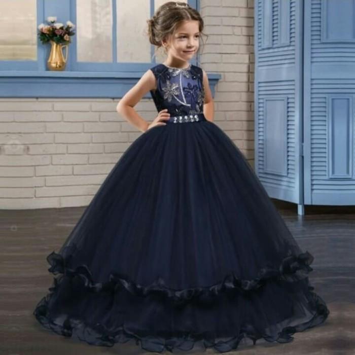 bf621283d4a Baju Gaun Pesta Anak Princess Long Dress Payet Ruffle Skirt Navy Blue -