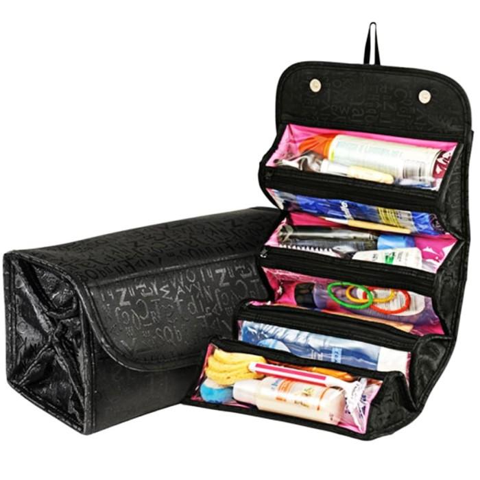 Tas Kosmetik Praktis Serbaguna Roll N Go Cosmetic Bag Dompet - Hitam
