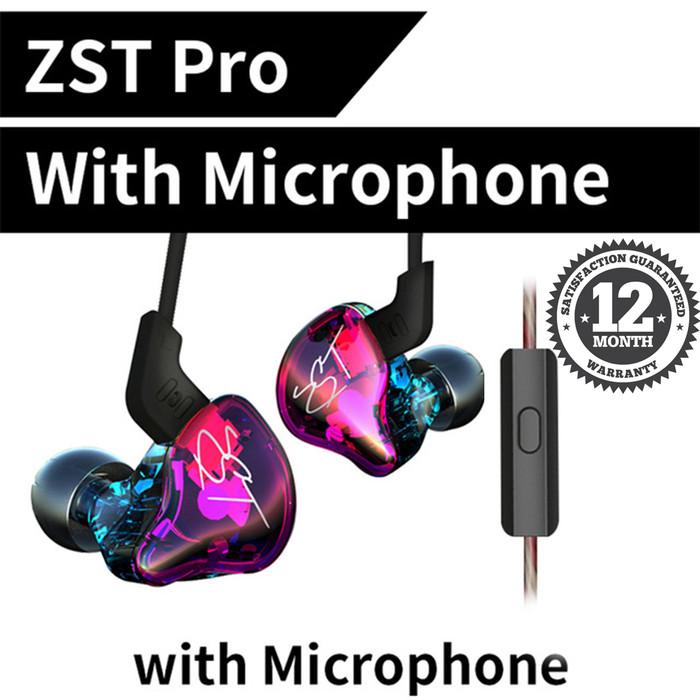 Foto Produk Knowledge Zenith KZ ZST Pro In Ear Earphone - Hybrid Dual Driver - Ungu dari Knowledge Zenith Store