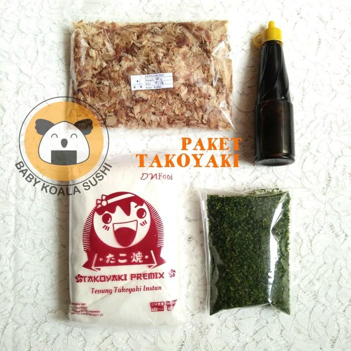 PAKET TAKOYAKI KOMPLIT   Tepung Premix, Katsuobushi, Saus Tako, Aonori