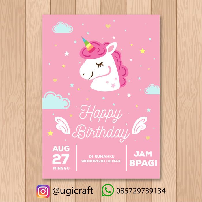 Jual Kartu Undangan Ulang Tahun Anak Unicorn Pink Kab Kudus Thebakulan Tokopedia
