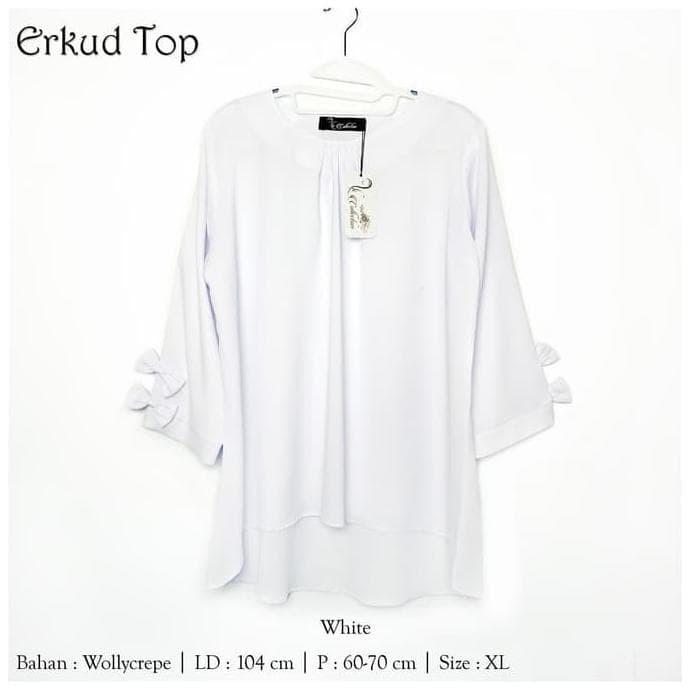 New Produk Baju Atasan Erkud Tunik Baju Muslim Blus Muslim - Putih, Xl