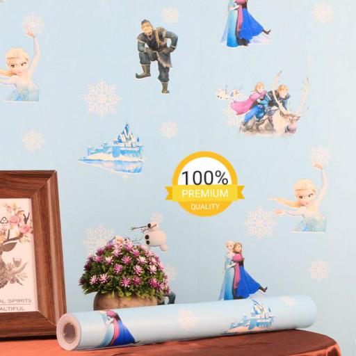 Jual Wallpaper Dinding Mirah Kamar Anak Kartun Frozen Biru Bagus