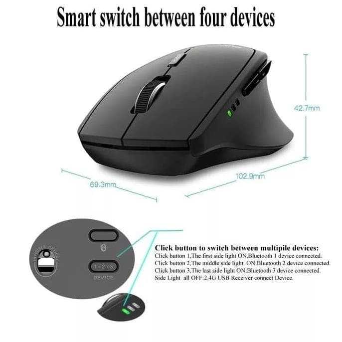3383a74412f Jual Rapoo MT550 Multi-mode Wireless 2.4G Bluetooth 3.0/4.0 Mouse 4 ...