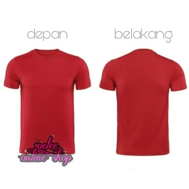 Desain Kaos Polos Merah Maroon Depan Belakang