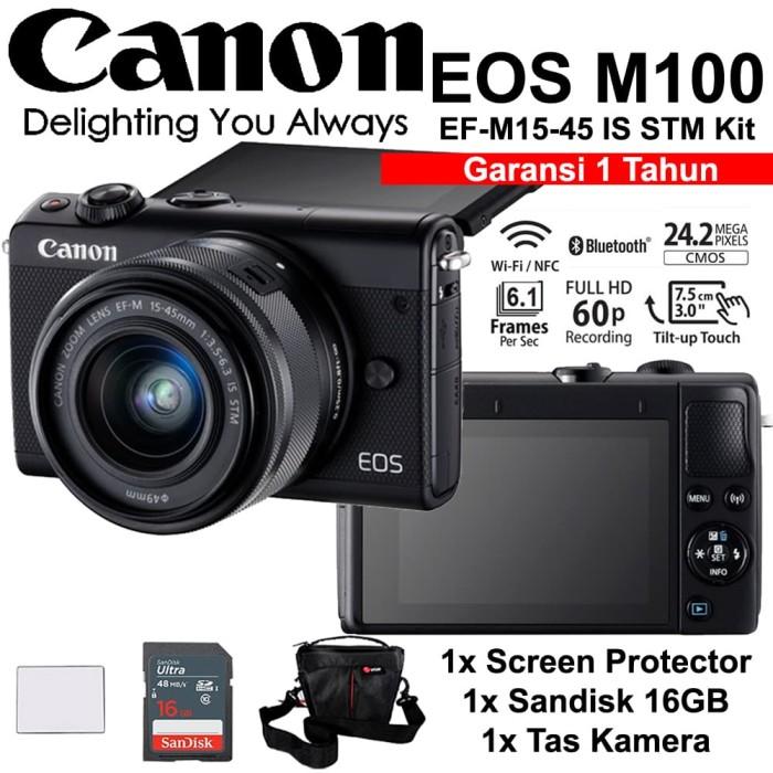 harga Canon eos m100 black 15-45mm kit - screen - sandisk 16gb - tas Tokopedia.com