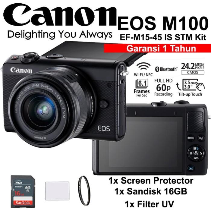 harga Canon eos m100 black 15-45mm kit - screen - sandisk 16gb - filter Tokopedia.com