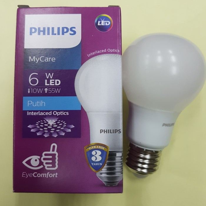 Lampu bohlam LED Philips Phillips 6w 6watt 6 watt
