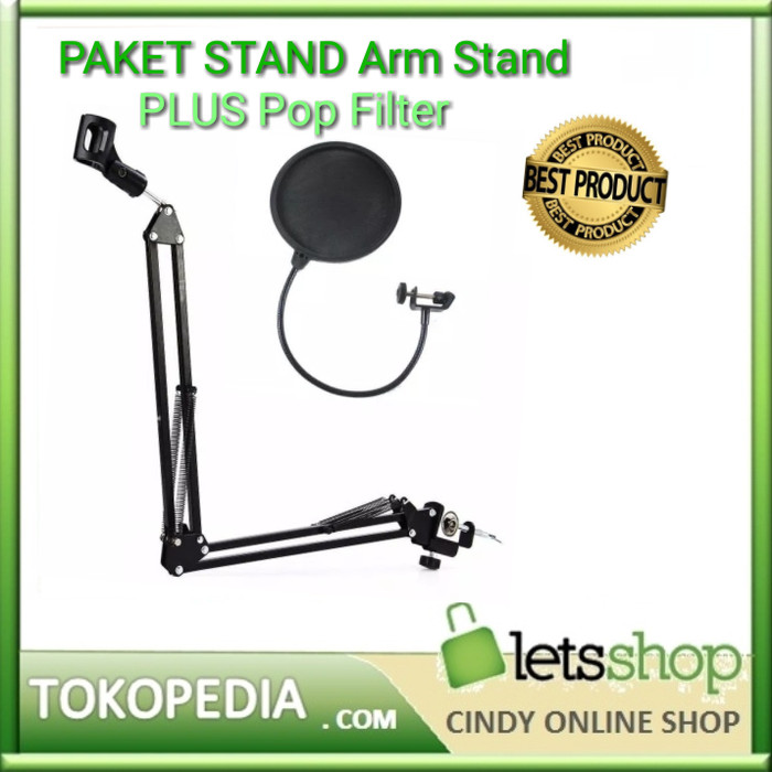 harga Paketan stand mic arm stand microphone plus pop filter - lebih murah Tokopedia.com