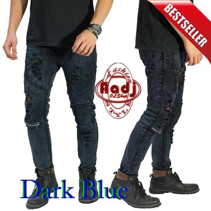 Celana Jeans Stretch Knee Ripped / Sobek / Robek Skinny Pria Keren