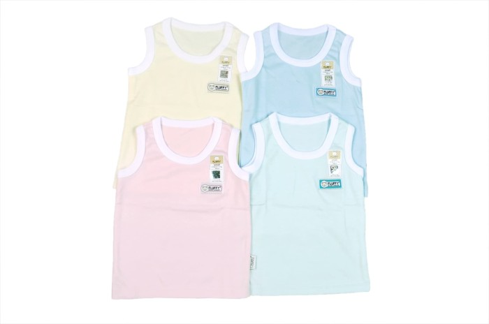 Singlet luar anak fluffy warna polos size1/2/3 (1pack isi 4 pcs
