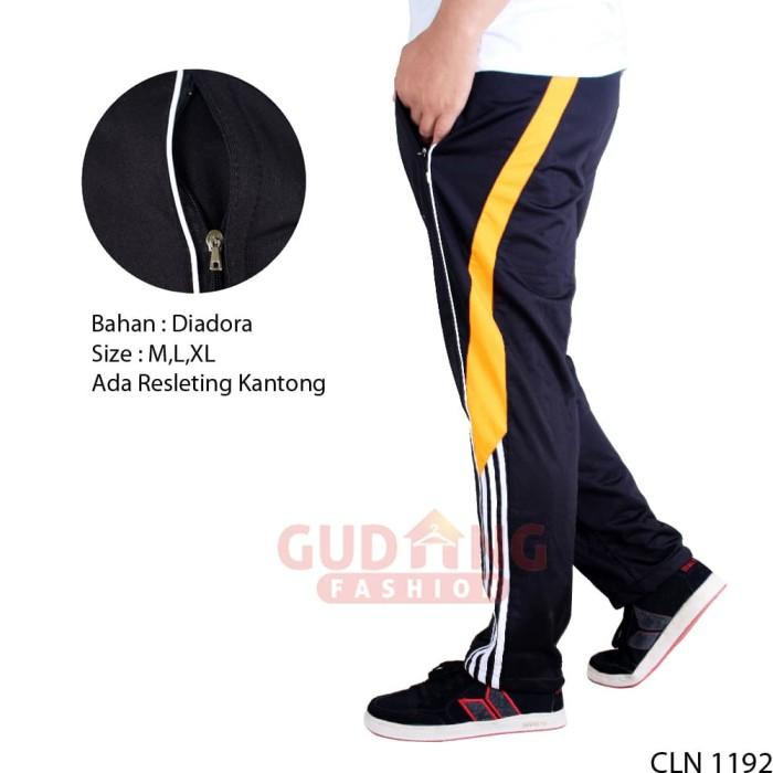 Celana Panjang Training Cowok Keren CLN 1192 - HITAM KUNING, M
