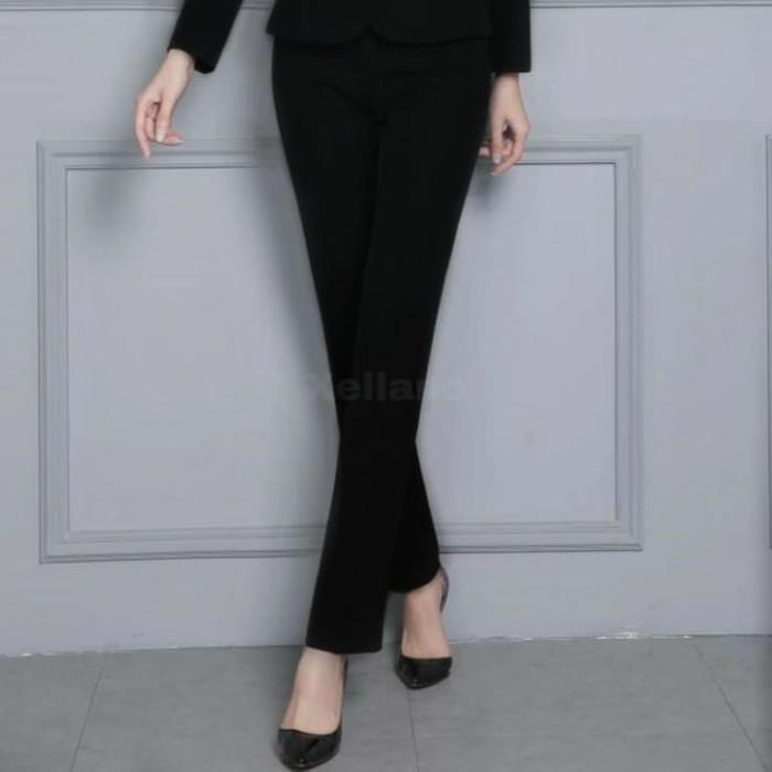 Celana Kerja Wanita / Celana Bahan Kantor Cewek Model Slimfit Hitam