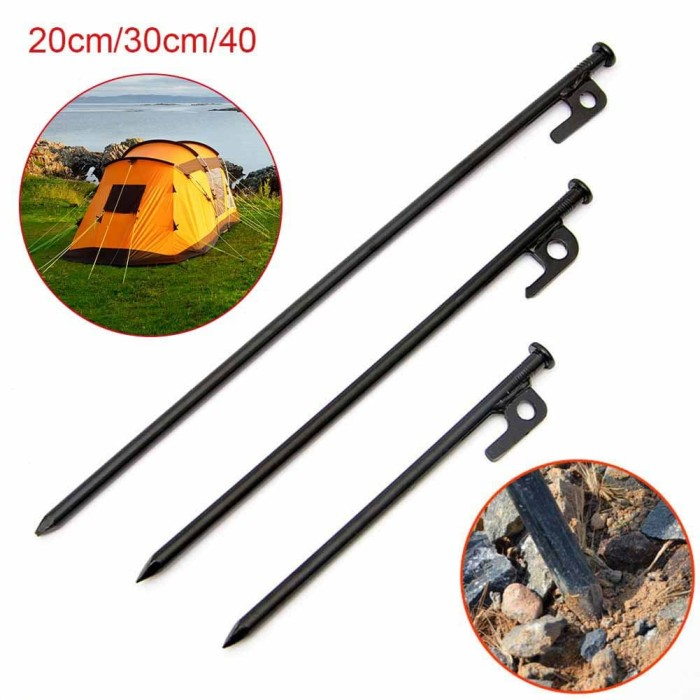 2pcs Ground Nails Stakes Support Tools Heavy Duty Steel Outdoor Camping