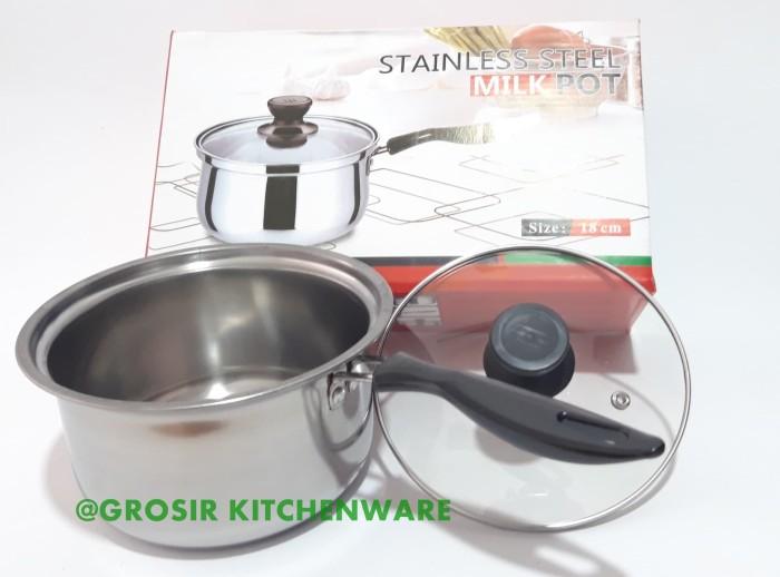 Panci Stainless Steel 18cm tutup kaca / Susu kecil milk pot