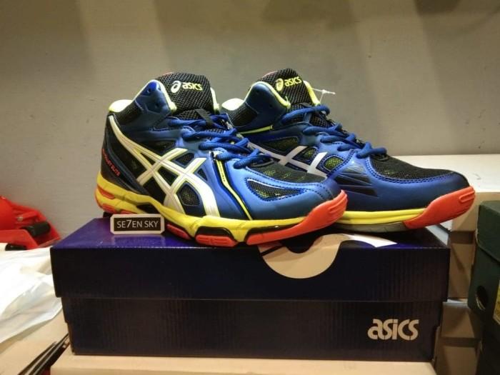 Jual Sepatu Asics Gel Volley Elite Navy neon orange. sepatu Voli ... 8958895ab6