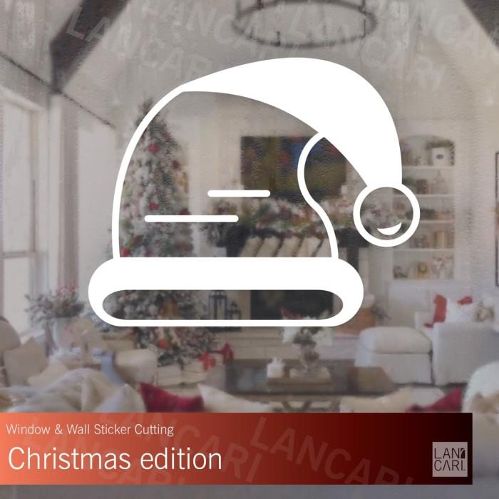 jual stiker natal topi santa christmas decal wall window kaca